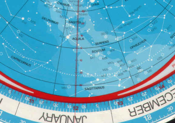Planisphere: view from Northern hemisphere, looking South, 13.30 pm on 21/12/2012